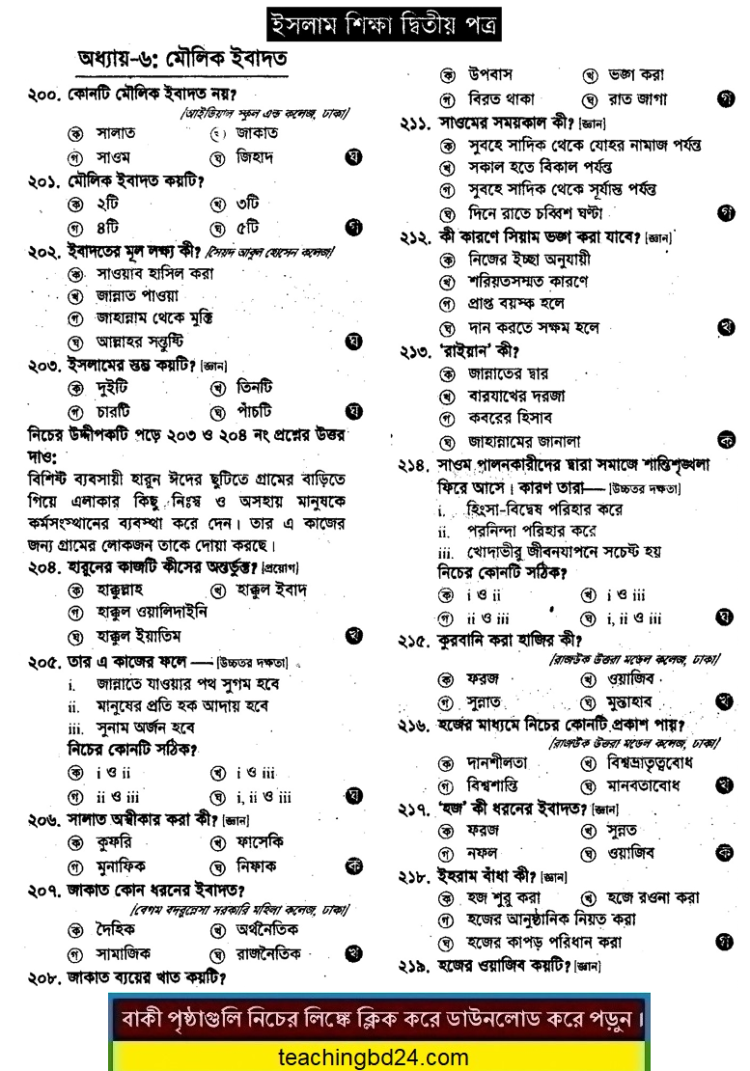 Basic Pray: Education of Islam 2nd Paper 6th Chapter MCQ Question With Answer